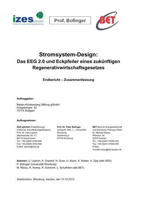 Studie Kurzfassung - BET Aachen