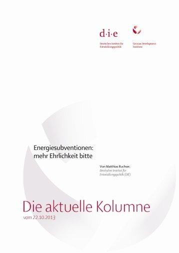 Energiesubventionen: mehr Ehrlichkeit bitte - Deutsches Institut für ...