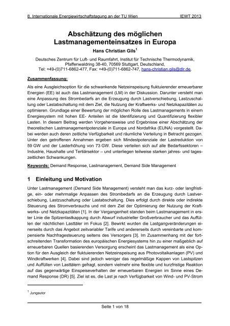 Abschätzung des möglichen Lastmanagementeinsatzes in ... - EEG