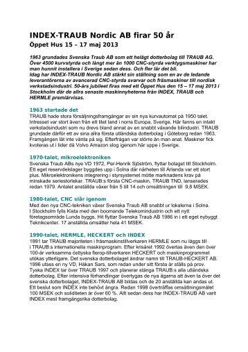 INDEX-TRAUB Nordic AB firar 50 år - Öppet Hus 15 – 17 maj 2013