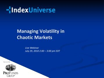Managing Volatility In Chaotic Markets - IndexUniverse.com