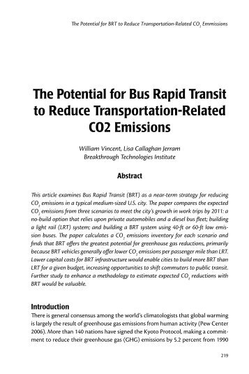 The Potential for Bus Rapid Transit to Reduce Transportation - India ...