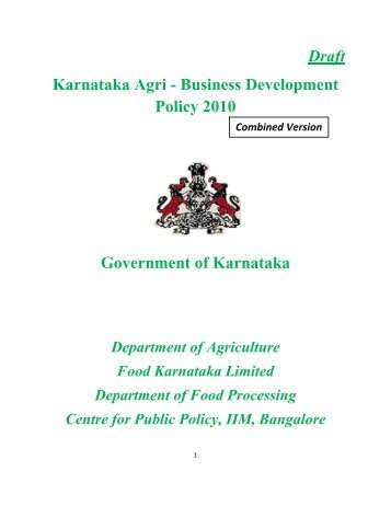 Draft Karnataka Agri - Business Development Policy 2010 ...