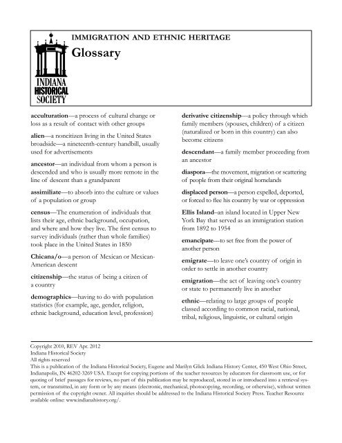 Immigration and Ethnic Heritage Glossary - Indiana