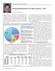 Eating Establishments at Indian Casinos - 2013 - Indian Gaming