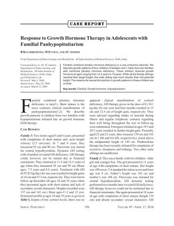 Response to Growth Hormone Therapy in Adolescents ... - medIND