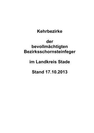 Kehrbezirke der Bezirksschornsteinfeger - Landkreis Stade