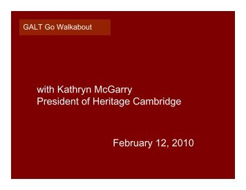 with Kathryn McGarry President of Heritage Cambridge February 12 ...