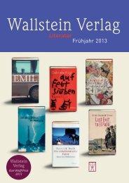 Vorschau Literatur Frühjahr 2013 - Wallstein Verlag