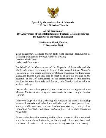 Ambassador's Speeches, Transcripts and Press Releases