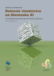Zborník z konferencie Duševné vlastníctvo na Slovensku XI, rok vyd ...