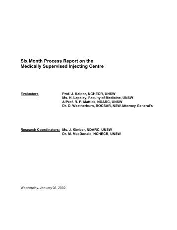 Six Month Process Report on the Medically Supervised Injecting ...