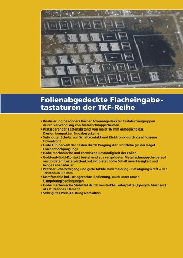 Folienabgedeckte Flacheingabe- tastaturen der TKF-Reihe - InduKey