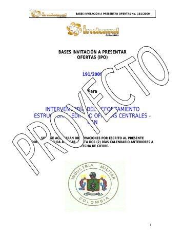 BASES INVITACIÓN A PRESENTAR OFERTAS - Indumil