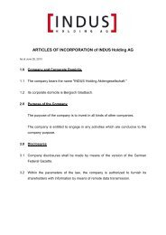 ARTICLES OF INCORPORATION of INDUS Holding AG
