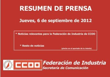 RESUMEN DE PRENSA - Federación de Industria - CCOO