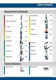 table of contents Measurement instruments Scales & Balances