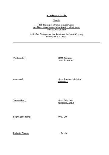 Niederschrift - Planungsverband Industrieregion Mittelfranken