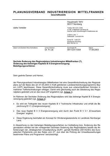 WEA 1 - Planungsverband Industrieregion Mittelfranken