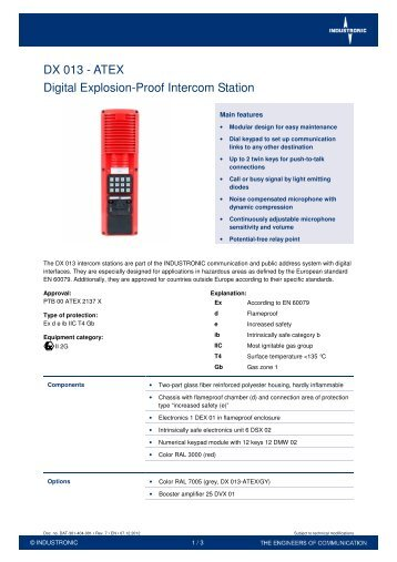 DX 013 - ATEX Digital Explosion-Proof Intercom Station - Industronic