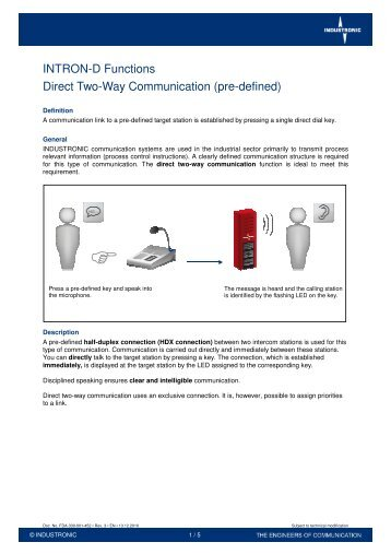 INTRON-D Functions Direct Two-Way Communication ... - Industronic
