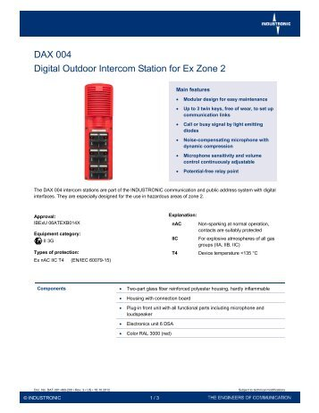 DAX 004 – Digital Outdoor Intercom Station for Ex Zone ... - Industronic