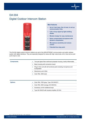 DA 004 Digital Outdoor Intercom Station - Industronic