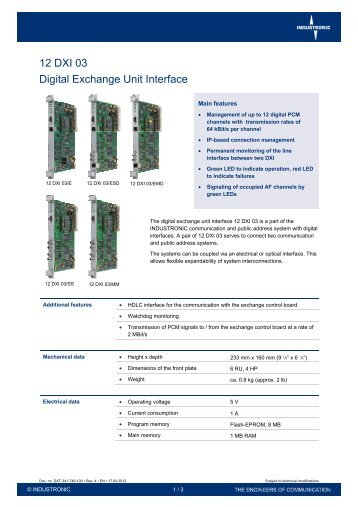 Digital Exchange Unit - Industronic