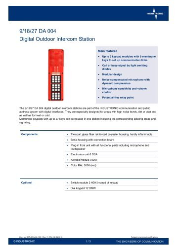 9/18/27 DA 004 Digital Outdoor Intercom Station - Industronic