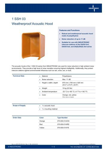 1 SSH 03 Weatherproof Acoustic Hood - Industronic