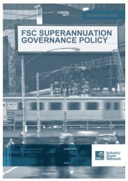 FSC Superannuation Governance Policy - Industry Super Network