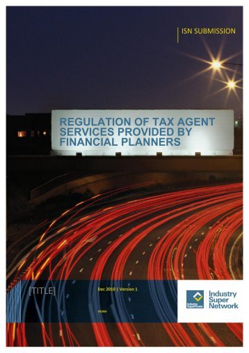 regulation of tax agent services provided by financial planners