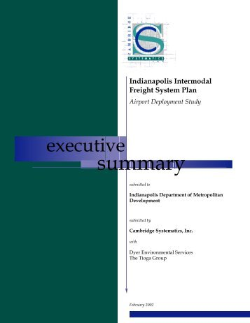 Indianapolis Intermodal Freight System Plan Airport Deployment Study