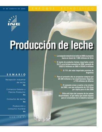 Producción de leche(PDF, 643 KB) - Instituto Nacional de Estadísticas