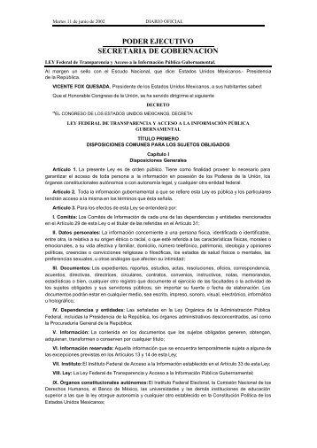 PODER EJECUTIVO SECRETARIA DE GOBERNACION - Instituto ...