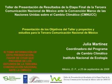 Tercera Comunicación Nacional - Instituto Nacional de Ecología