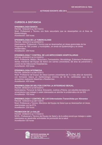 CURSOS A DISTANCIA - Instituto Nacional de Epidemiología