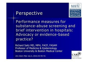 Performance measures for substance use screening and ... - INEBRIA