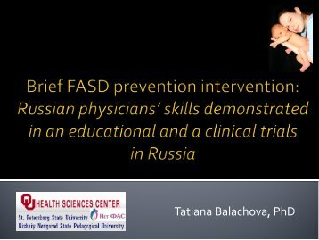 Brief FASD prevention intervention: Russian physicians - INEBRIA