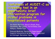 Usefulness of AUDIT-C as screening tool in an ... - INEBRIA