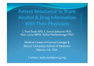 Patient reluctance to share alcohol and drug screening ... - INEBRIA