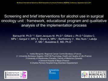 Screening and brief interventions for alcohol use in ... - INEBRIA