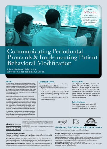 Communicating Periodontal Protocols ... - IneedCE.com