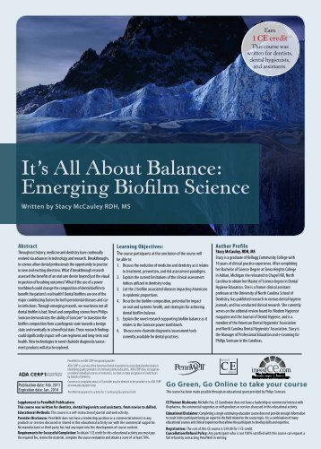 It's All About Balance: Emerging Biofilm Science - IneedCE.com