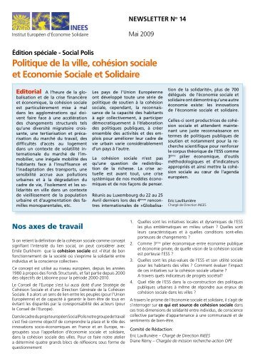 Politique de la ville, cohésion sociale et Economie Sociale et ... - inees