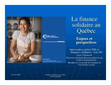 La finance solidaire au Québec - RIPESS Europe