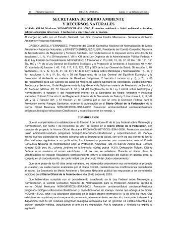 NORMA Oficial Mexicana NOM-087-ECOL-SSA1-2002 ... - Cofepris