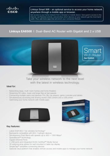 Linksys EA6500 I Dual-Band AC Router with Gigabit ... - NobleLink
