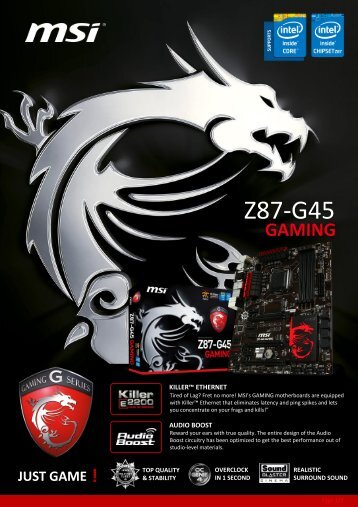 MSI Z77A-GD65 GAMING Datasheet