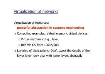 Virtualization of networks - INET